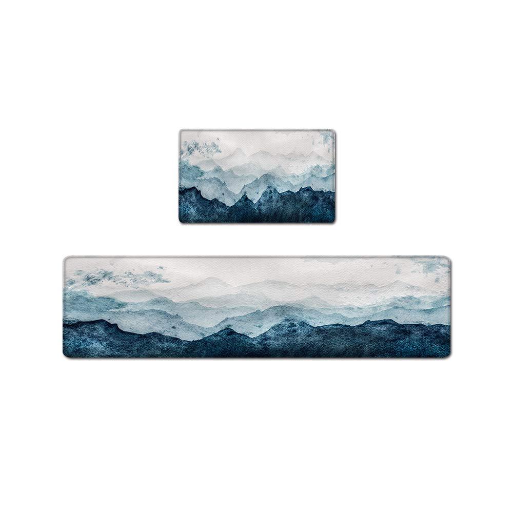 "QIYI Floor Comfort Mats Kitchen Rugs PVC Leather Non Skid 1 Piece Laundry Standing Mat Runner Anti Fatigue Waterproof Foam Cushioned Doormat 17"" W x 59"" L - Watercolor Mountain"