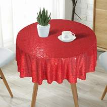 """Eternal Beauty Red 50"""" Round Sequin Tablecloth- Sparkly Sequin Overlay for Wedding Party/Dessert Table/Christmas Decoration(50-Inch, Red)"""