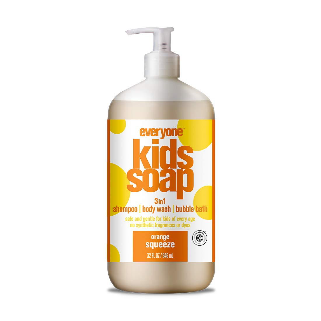 Everyone 3-in-1 Soap for Every Kid for Safe, Gentle and Natural Shampoo, Body Wash, or Bubble Bath, Orange Squeeze, 32 Fl Oz (Pack of 6)