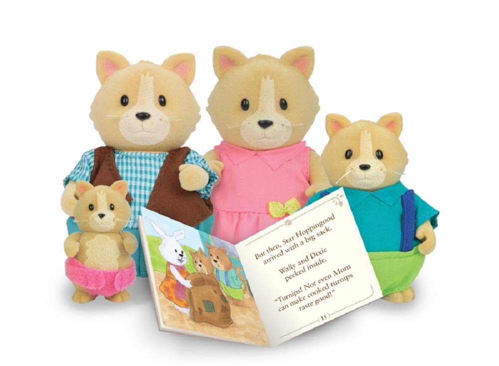 Li'l Woodzeez Cat Family Set – Whiskerelli Cats with Storybook – 5pc Toy Set with Miniature Animal Figurines – Family Toys and Books for Kids Age 3+