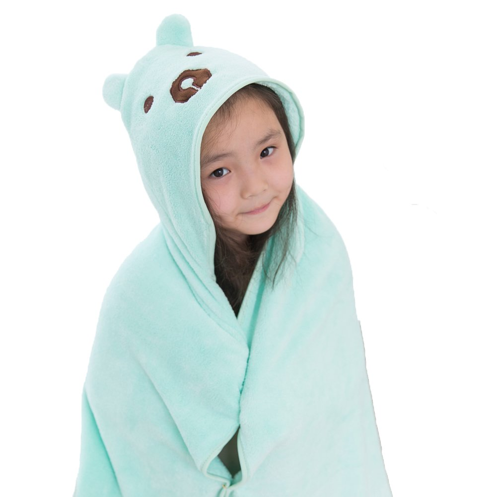 MISM Infant Baby Towel with Hood Large Size Newborn Toddler Hooded Towels Soft Thick Cape Cute Animals (Blue Bear)