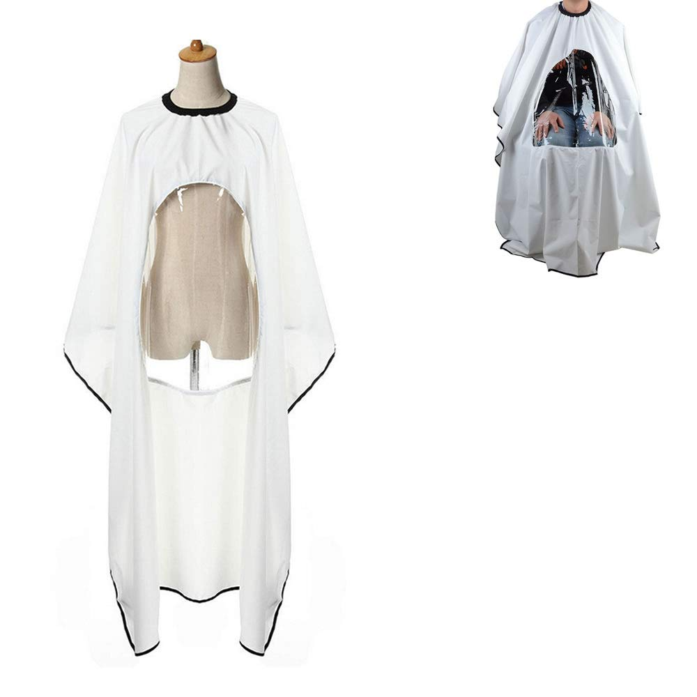 WSERE Professional Salon Barber Cape Hair Cutting Haircut Apron with Clear Visual Window, Anti-static Waterproof Reliable Protection 5 Colors, White