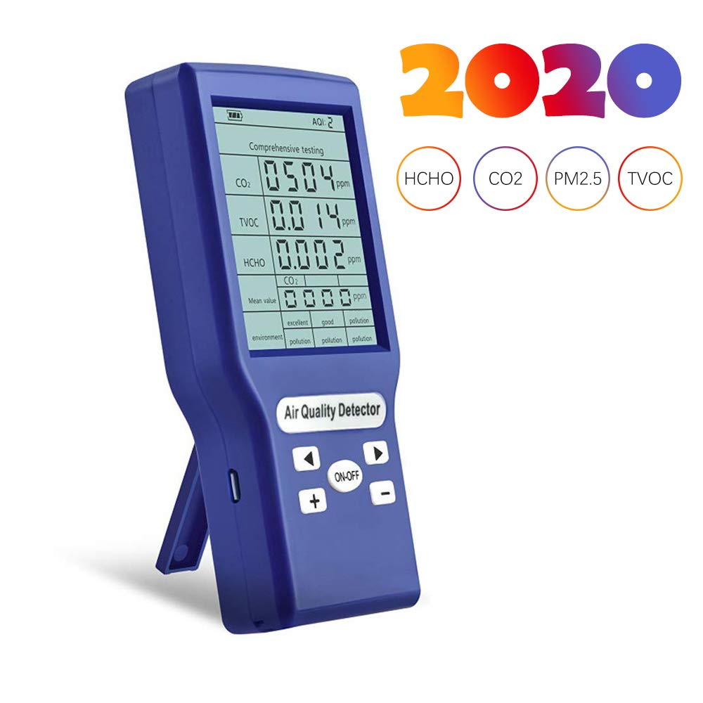 Air Quality Monitor, Portable Real Time Data with Mean Value Recording High Precision Tester for CO2 Formaldehyde(HCHO) TVOC PM2.5/PM10