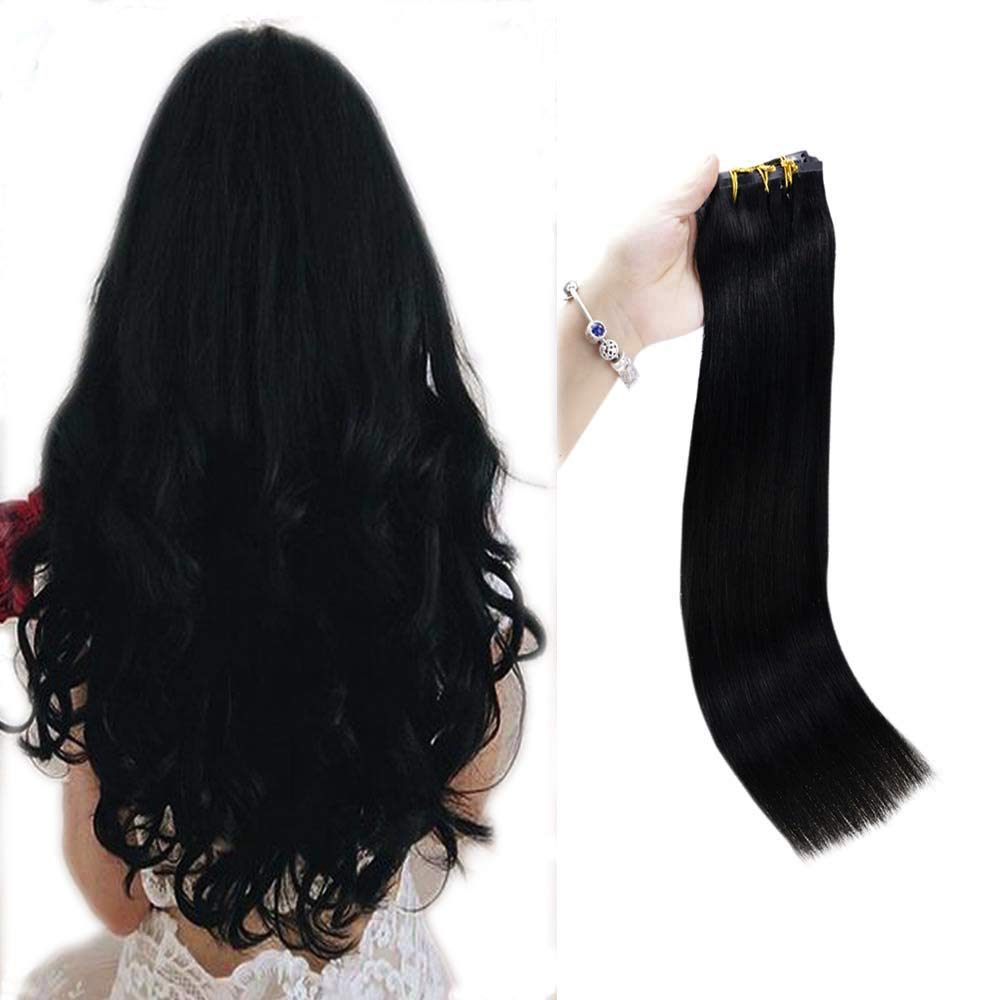 Full Shine Clip Hair Extensions 8 Pcs 20 Inch Seamless Hair Extensions Clip In Human Hair 100 Gram Per Set Solid Color 1 Jet Black Straight Clip In Hair Extensions Skin Weft Clip In Remy Hair
