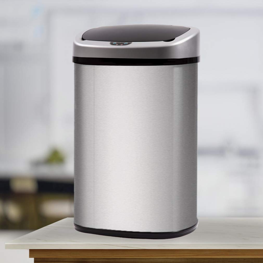Kitchen Trash Can Stainless Steel Metal Garbage Can with Lid Automatic Touch Free Sensor Waste Bin for Barthroom Office Bedroom Home 13 Gallon / 50L