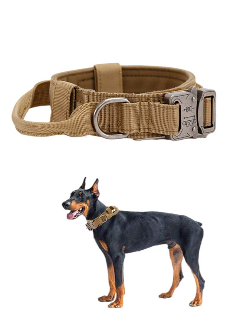 Xqpetlihai Tactical Dog Collar Nylon Adjustable K9 Collar Military Dog Collar Heavy Duty Metal Buckle with Handle for Dog Training (Brown L)