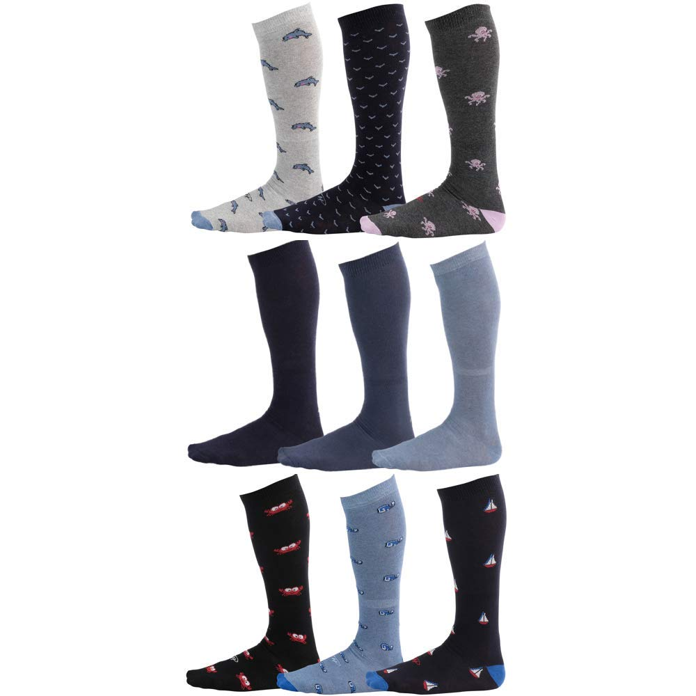 Pierre-Henry Premium Over the Calf Dress Socks That Stay Up (9-pairs)