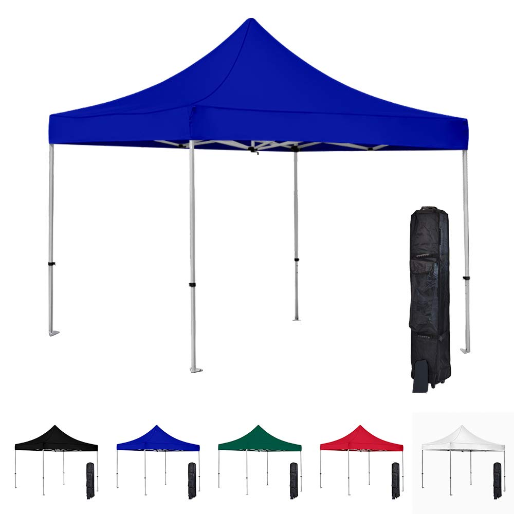 Vispronet 10x10 Instant Canopy Tent – Commercial-Grade Aluminum Frame – Water Resistant Canopy Top – Includes Wheeled Canopy Bag and Premium Stake Kit (Blue)
