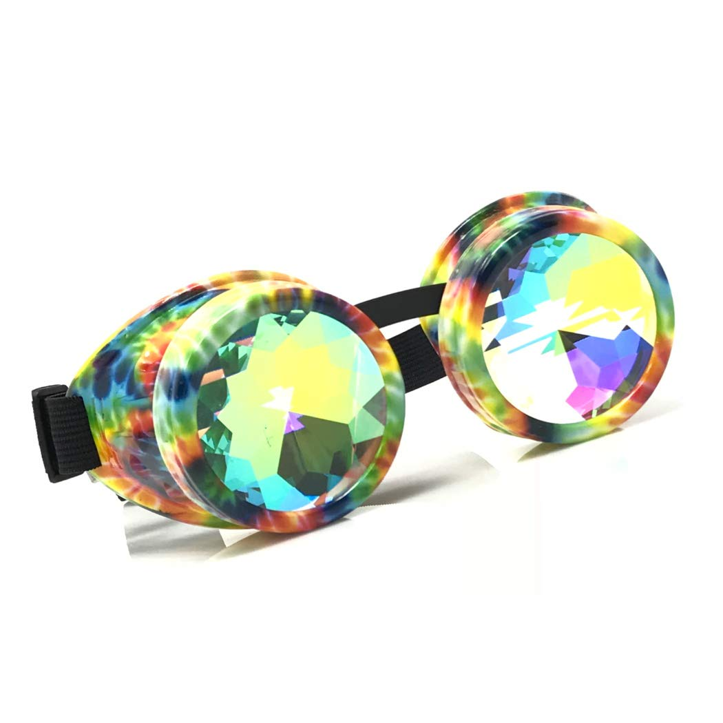 Crystal Rainbow Kaleidoscope Rave Glasses Steampunk Goggles Outfits Accessories