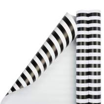 JAM PAPER Gift Wrap - Striped Wrapping Paper - 25 Sq Ft per Roll - Black & White Stripes - 2/Pack