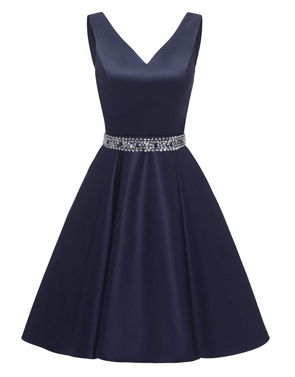 yinyyinhs V Neck Homecoming Dresses Short Satin Beaded Prom Dress Formal Gowns