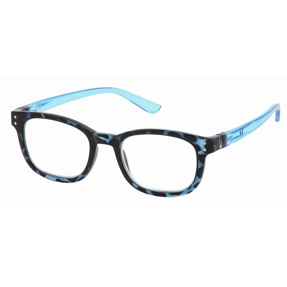 Bunny Eyez Anna Wearable, Tilt-able, Flip-able Women's Reading Glasses - Sky Blue Tortoise (+2.50)