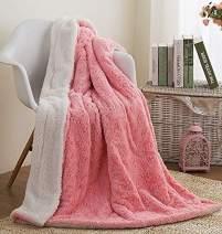 "Faux Fur Pink Throw Blanket - DaDa Bedding Luxury Rose Buds Blushing Lavish Soft Warm Cozy Plush Reversible Sherpa - Bright Vibrant Embossed Textured Rosey Baby Pink & White - 90"" x 90"""