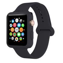 Soft Silicone Replacement Watch Band - Adjustable Wristband Watchband Wrist Straps Sport Band with Case Cover, 38mm 40mm 42mm 44mm, Compatible with Apple Watch Series 1/2/3/4/5, Black, 40mm S/M