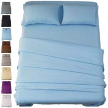 SONORO KATE Bed Sheet Set Super Soft Microfiber 1800 Thread Count Luxury Egyptian Sheets 18-Inch Deep Pocket Wrinkle and Hypoallergenic-4 Piece(California King Lake Blue)