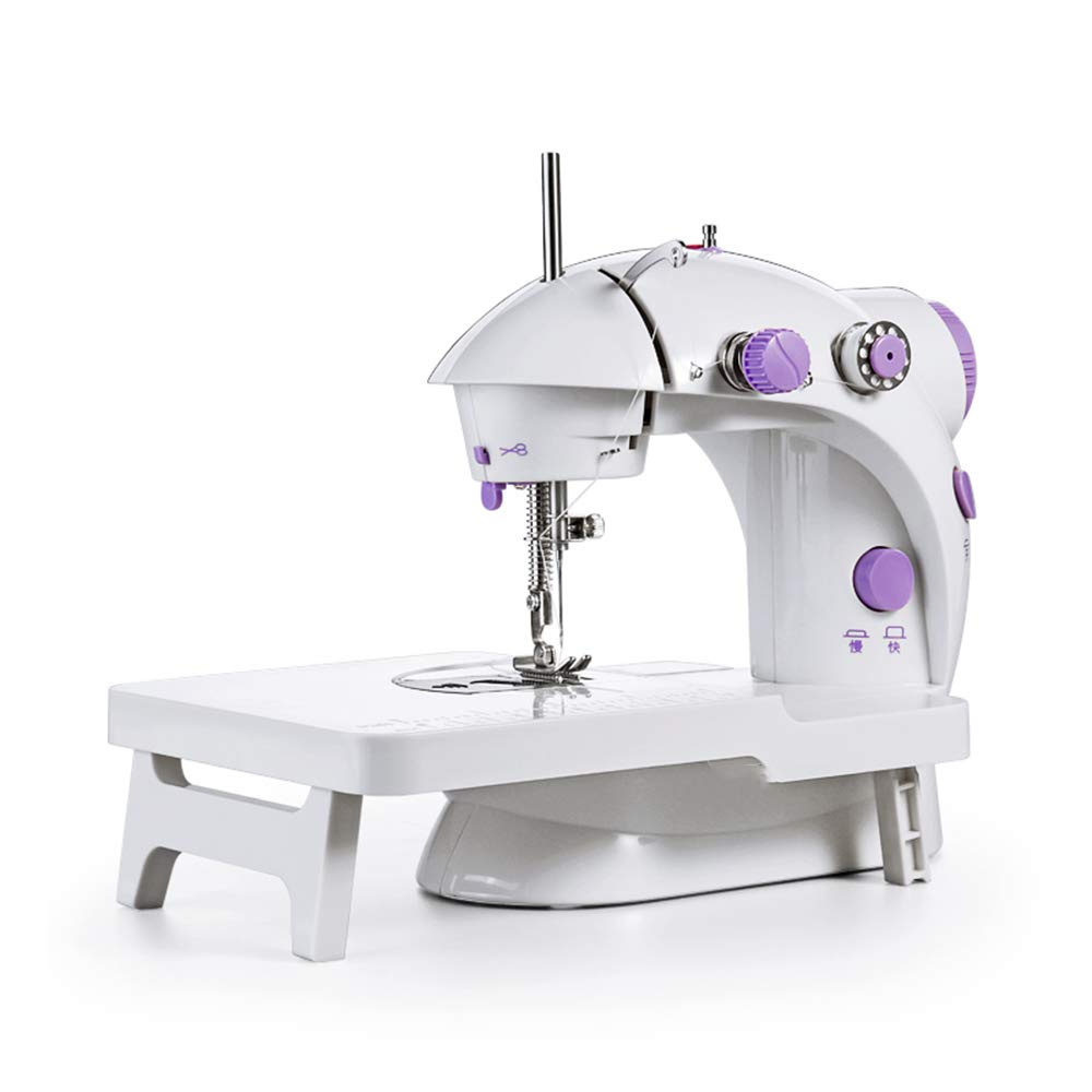 CGOLDENWALL Mini 2-Speed Portable Electric Household Sewing Machine Knitting Machine with Replaceable Foot Pedal(Batteries Not Included) (Purple)