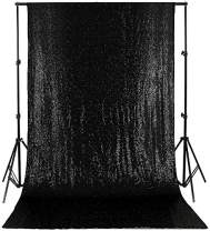 Black Sequin Backdrop Curtain Shining Sequin Backdrop 4ftx8ft Sequin Drapes for Baby Shower Dessert Table Background Halloween Decoration