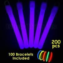 """Glow Sticks Bulk Wholesale, 100 4"""" Purple Glow Stick Light Sticks+100 Free Glow Bracelets! Bright Color, Kids Love Them! Glow 8-12 Hrs, 2-Year Shelf Life, Sturdy Packaging, GlowWithUsBrand"""