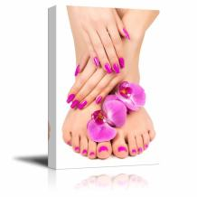 """Canvas Prints Wall Art - Pink Manicure and Pedicure with a Orchid Flower - 16"""" x 24"""""""