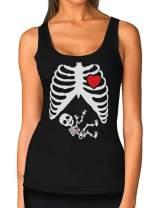 Halloween Funny Pregnant Xray Skeleton Baby Boy Women Tank Top