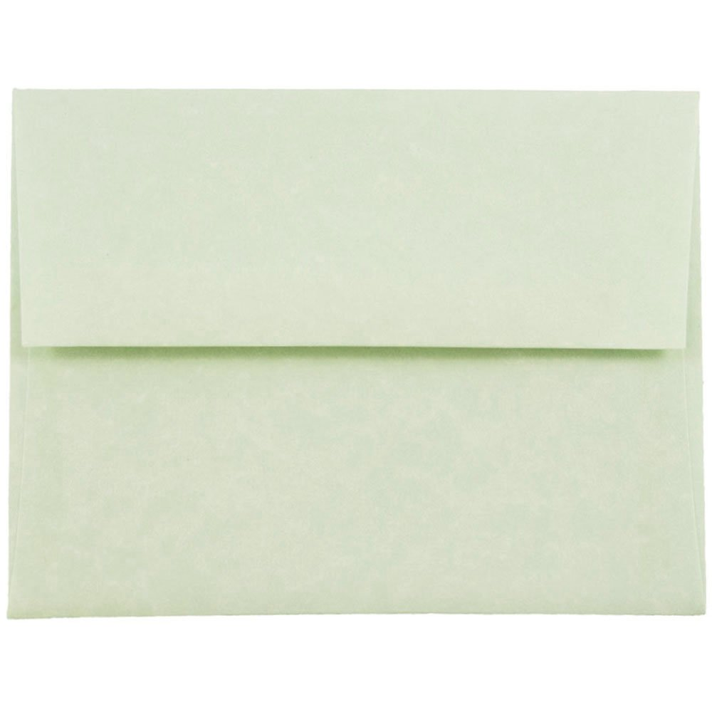 JAM PAPER A2 Parchment Invitation Envelopes - 4 3/8 x 5 3/4 - Green Recycled - 50/Pack