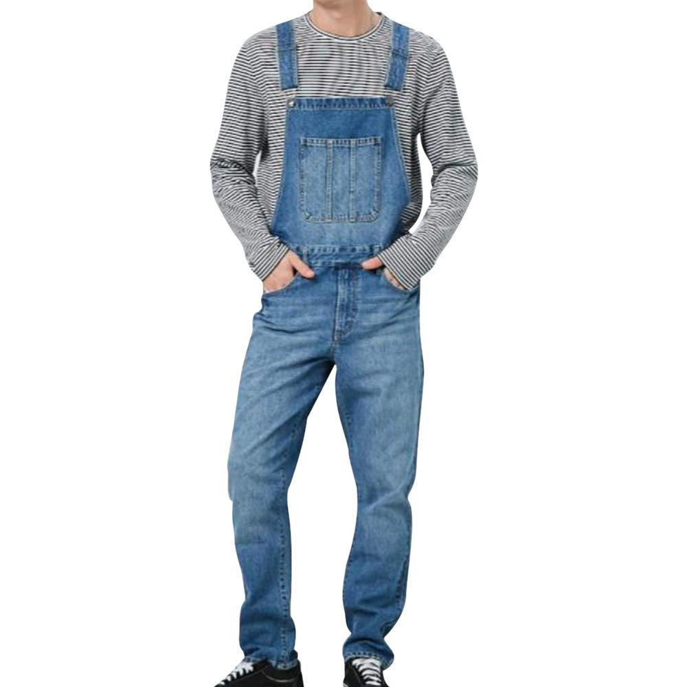 Manooby Men's Denim Bib Overalls Fashion Jeans Casual Slim Jumpsuit with Pockets Full Length Multi Pocket.(S-3XL)