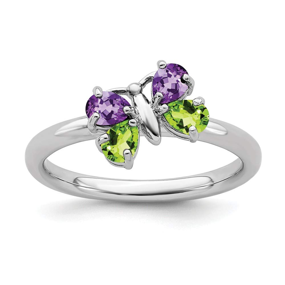 925 Sterling Silver Purple Amethyst Green Peridot Butterfly Band Ring Stackable Gemstone Birthstone February Fine Jewelry For Women Gift Set