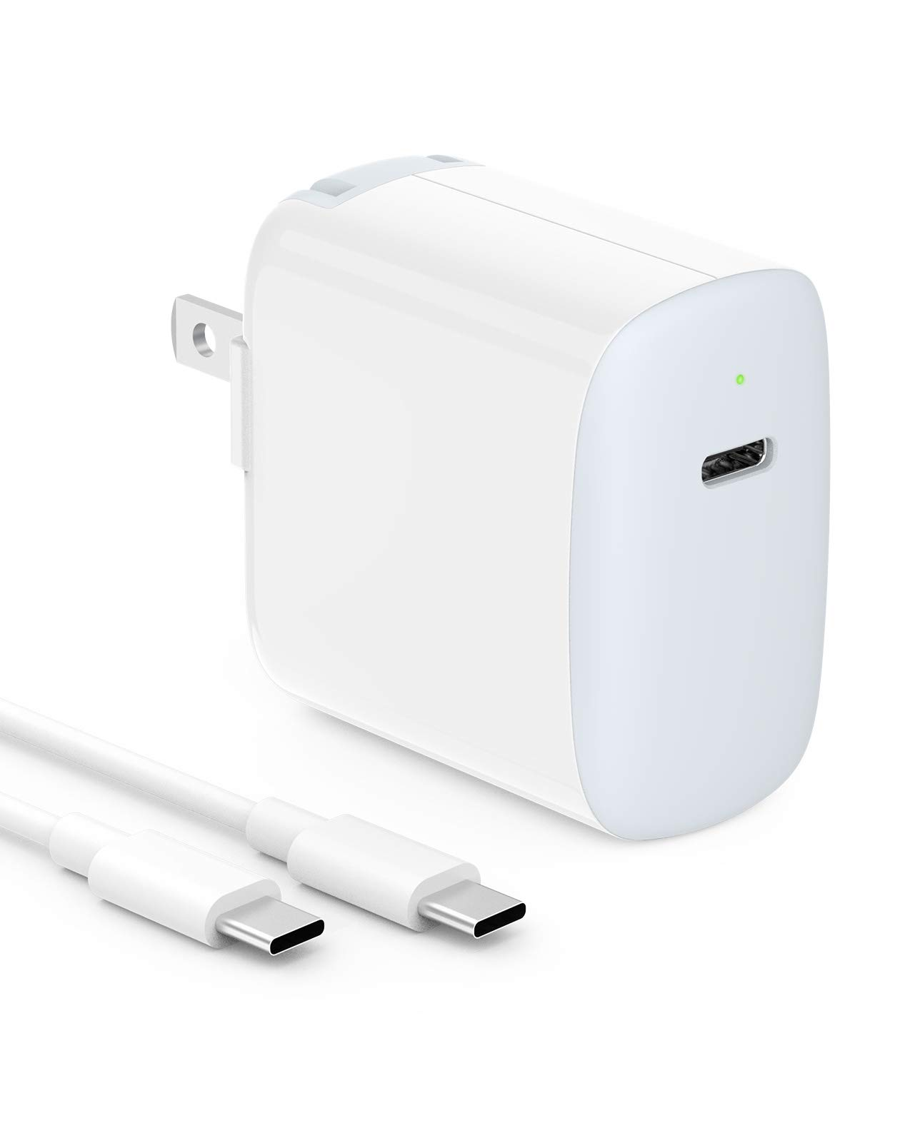 IFEART 30W USB C Fast Charger Compatible with MacBook Air 13 inch, MacBook 12 inch, iPad Pro 12.9/11 inch 2020/2018, iPad Air 4, Thunderbolt 3, 6.6ft USB C to C Cord, LED, Foldable Plug