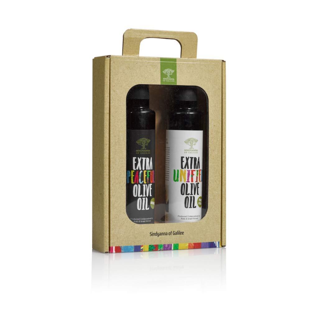 Sindyanna Olive Oil Pack Of 2 bottles. Extra Virgin Olive Oil Gift Set including House Blend & Organic Olive Oil, cold pressed Mediterranean EVOO   Top 100 Olive Oils in the World. 8.45 oz each Bottle