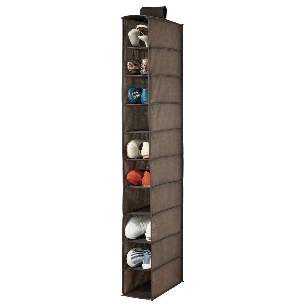 mDesign Soft Fabric Closet Organizer - Holds Shoes, Handbags, Clutches, Accessories - 10 Shelf Over Rod Hanging Storage Unit - Textured Print - Espresso Brown