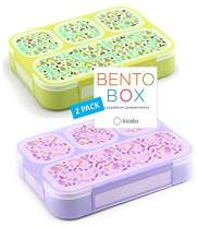 Bento Box for Kids Lunch-Boxes for Girls Boys | Snack Containers for Toddlers Pre-School | Cute Day-Care Meal Container BPA Free | Purple + Green Yellow, 4 Compartments, 2 pack