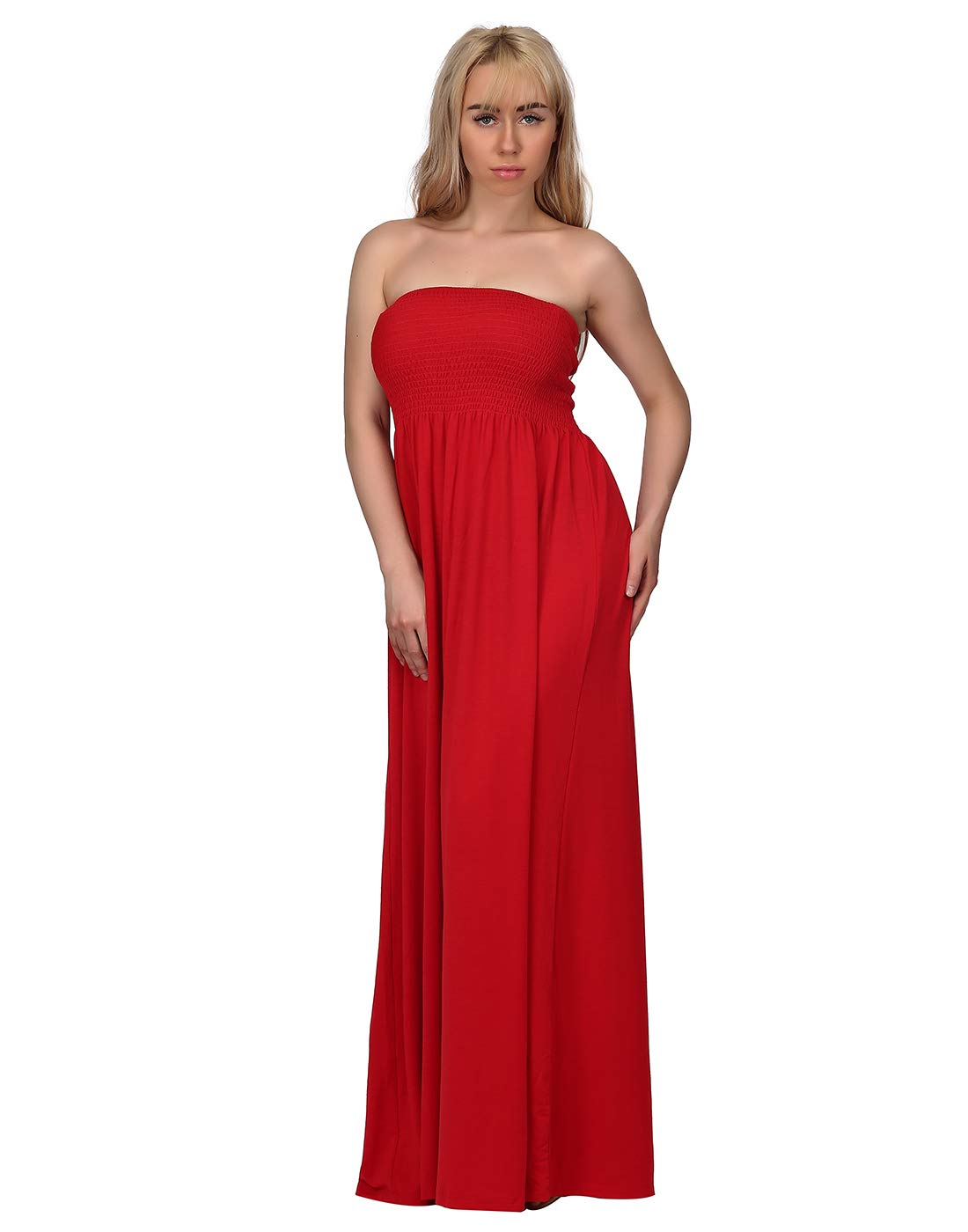 HDE Women's Strapless Maxi Dress Plus Size Tube Top Long Skirt Sundress Cover Up