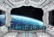 Baocicco 8x6ft Vinyl Starry Sky View Space Ship Interior Backdrop Universe Exploring Photography Background Galaxy Planet Nebula Stars Science Fiction Film Photo Shoot Prop