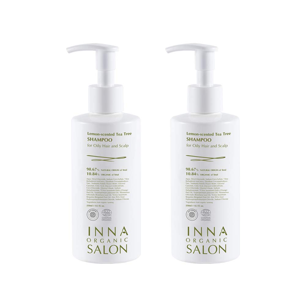 Inna Organic LEMON-TEA TREE SHAMPOO for Oily Hair and Scalp, Organic Certified Clean Beauty, Vegan and Toxin-free, 8.3 fl.oz pack of 2