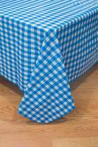 BRODER MFG. INC. - Blue Check 60 Round Tablecloth, Vinyl Flannelback - Wipeable, for Everyday use Indoors & Outdoors