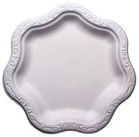 """[100 COUNT] 9"""" inch Disposable Floral Medium Premium White Plates Acanthus Collection Natural Sugarcane Bamboo Fibers Bagasse 100% Byproduct Eco Friendly Environmental Plastic Paper Plate Alternative"""