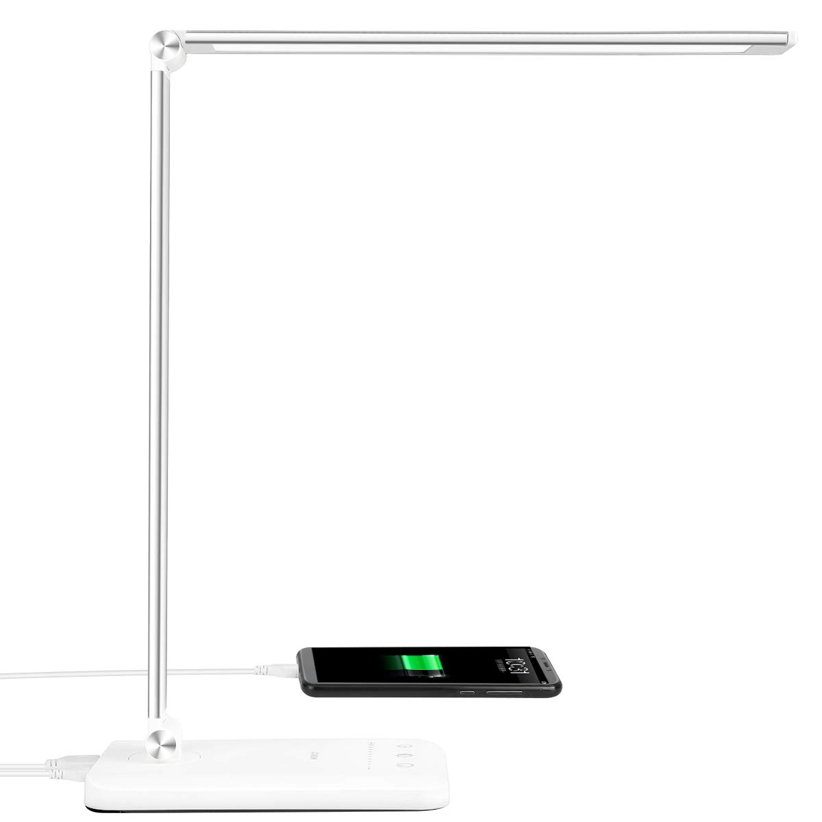 Led Desk Lamp Office Desk Lamps With Usb Charging Port And 2000mah Battery Dimmable Eye Caring Table Lamp With 5 Color Modes And 5 Brightness Levels Timer Memory Function Lamp For Working Reading