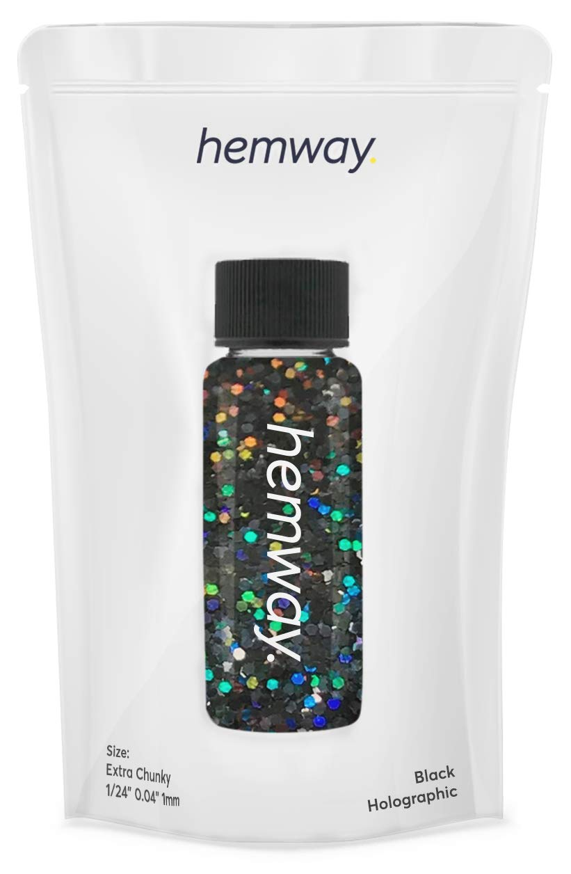 "Hemway Glitter Tube 12.8g / 0.45oz Extra Chunky 1/24"" 0.04"" 1MM Premium Sparkle Gel Nail Dust Art Powder Makeup Pigment Eyeshadow Face Body Eye Cosmetic Safe-(Black Holographic)"