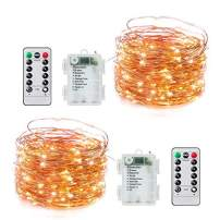 33FT 100 LED Fairy Lights Battery Operated with Timer and 8 Mode Remote Control, 2 Pack Waterproof Firefly String Lights for Bedroom Indoor Outdoor Wedding Dorm Christmas Decor Warm White