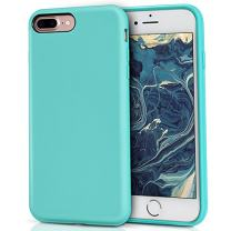 MILPROX Silicone Case, Pretty Series Liquid Silicone Gel Rubber, Shockproof Case with Microfiber Cloth Lining Cushion Compatible with iPhone 7 Plus/8 Plus - Teal
