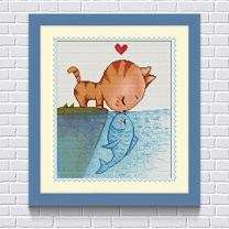 Faraway Cat Kiss Fish DIY Diamond Painting for Kids Paint by Number Kit, Diamond Embroidery Anime Cartoon Decoration for Kid's Room 16X20inch