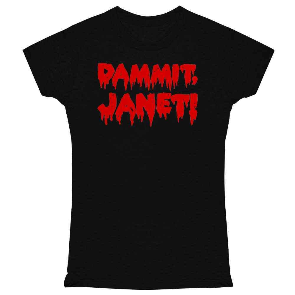 Pop Threads Dammit Janet! Funny Halloween Costume Graphic Tee T Shirt for Women