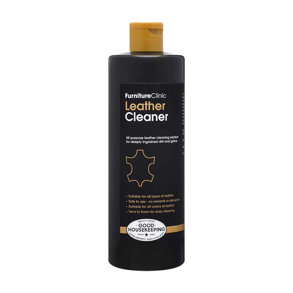 Furniture Clinic Leather Cleaner - Leather Cleaning For Car Interiors and Seats, Leather Furniture, Couches, Shoes, Boots, Bags | 17oz Suitable for all Leather Types/Colors (black, brown, & more)