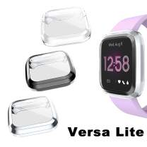 Goton Compatible Fitbit Versa Lite Case Cover Screen Protector, (3 Color Packs) Soft TPU Shockproof Full Cover Case Bumper Protector (Versa Lite,Black Silver Clear)