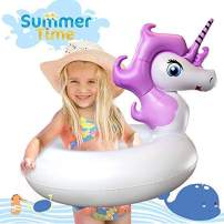 LEERON Unicorn Pool Float,Pool Floats for Kids Unicorn Pool Toys Inflatable Swimming Pool Float Ride on Water Raft Swim Rings Pool Floaties for Girls Boys Toddlers Child Floating Tubes