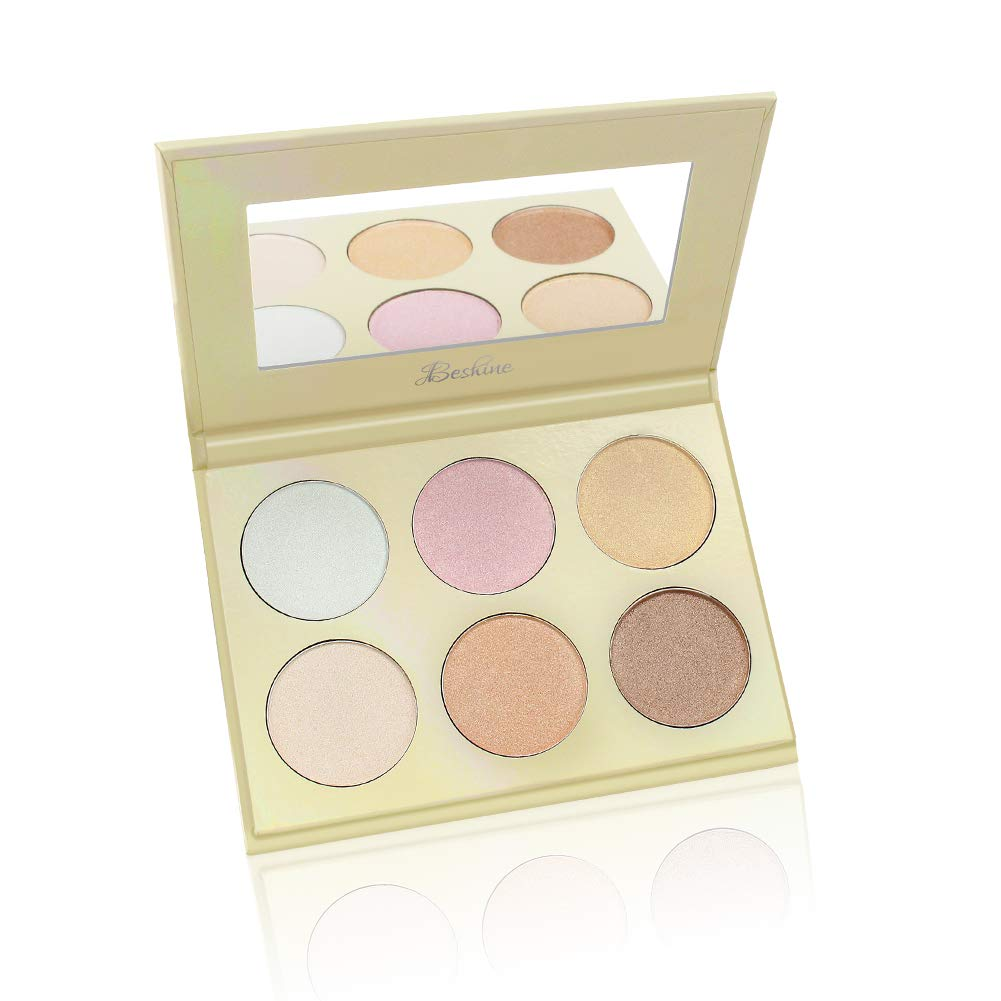 Beshine Highlighter Palette, 6-Color Highlighter Palette Brightening powder,Facial Stereoscopic Corrective Exquisite Powder for All Skin Types (Gold)