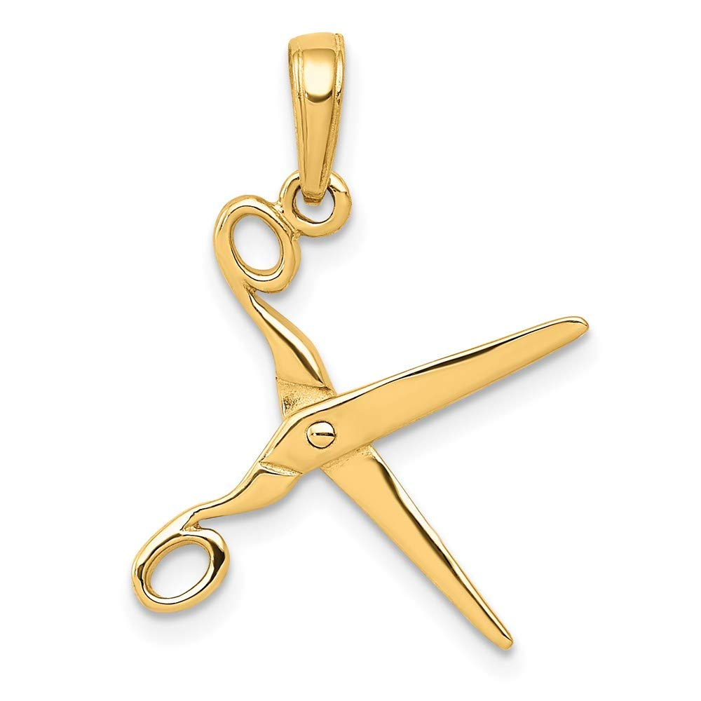 14k Yellow Gold 3 D Moveable Scissors Pendant Charm Necklace Career Professional Fine Jewelry For Women Gifts For Her