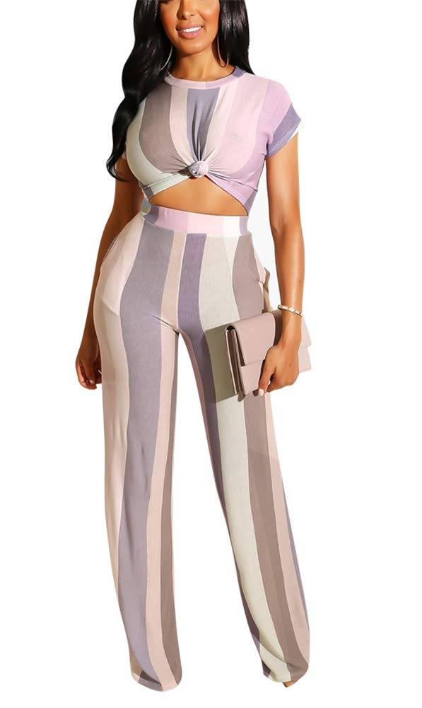 Women Colorblock O-Neck Short Sleeve Crop Tops High Waist Flare Long Pants Jumpers 2 Piece Outfits