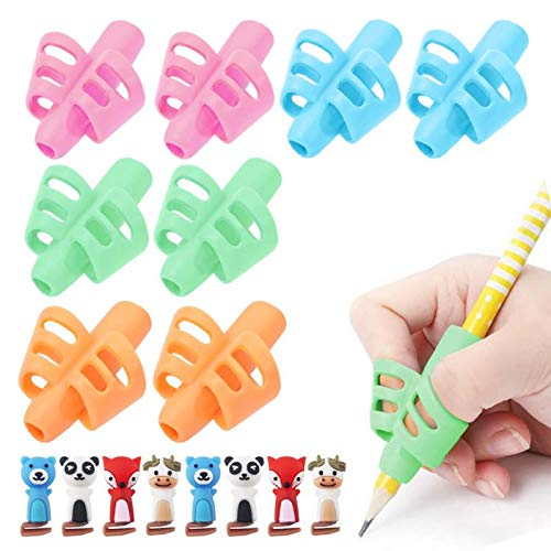 Pencil Grips for Kids Handwriting ,BUSHIBU Proper Pencil Pen Grip Trainer for Preschooler,Hollow Ventilation Writing Training Aids for Toddler Children(8pcs Grips&8pcs Clips)