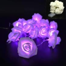 VIPMOON 2M/6.56ft 20LED String Lights Bright Warm Rose Flower Lamp Fairy Light,Battery Operated String Romantic Flower Rose Lamp Outdoor for Wedding Room Christmass Valentine's Day Decoration -Purple